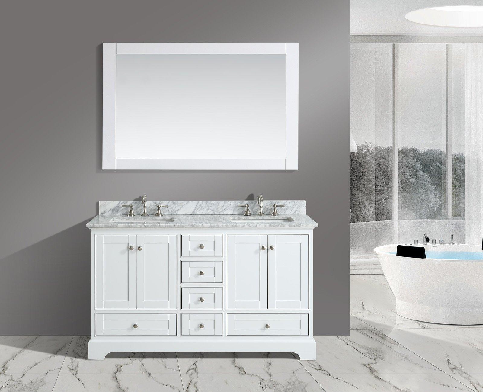 UrbanFurnishing.net - Jocelyn 60-Inch (60'') Bathroom Sink Vanity Set with White Italian Carrara Marble Top - White by UrbanFurnishing.net