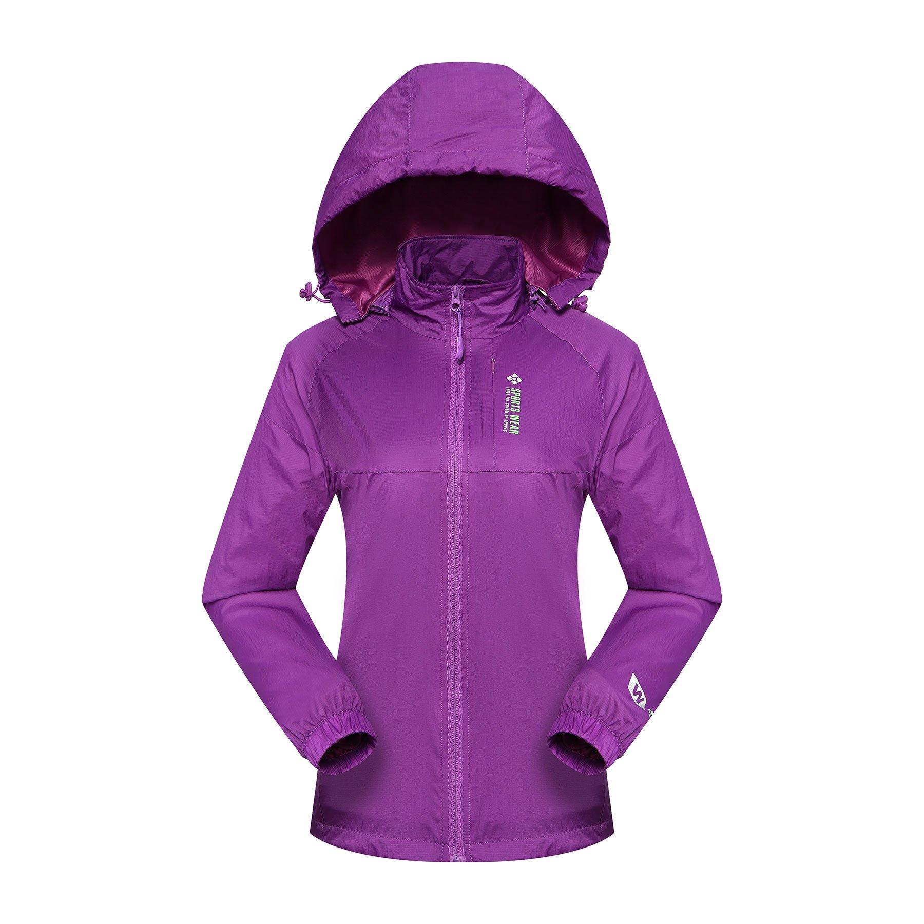 Diamond Candy Sportswear Women\'s Hooded Front-zipper Softshell Raincoat Waterproof Rain Jacket