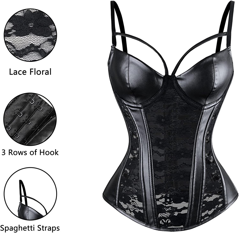 Perspective Womens Gothic Lace Corset Bustier Faux Leather Bra Lingerie