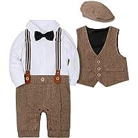 Amissz babypojkklädset, 3 delar, sparkdräkt + väst + hatt, fluga, slips, gentleman, babyset, dop, kostym