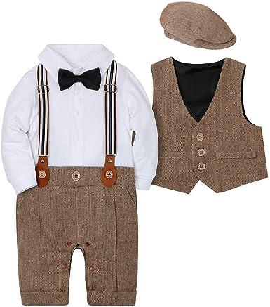 CARETOO - Conjunto de ropa para bebé y niño, 3 piezas, pelele + chaleco + sombrero pajarita corbata para bautizo: Amazon.es: Ropa y accesorios