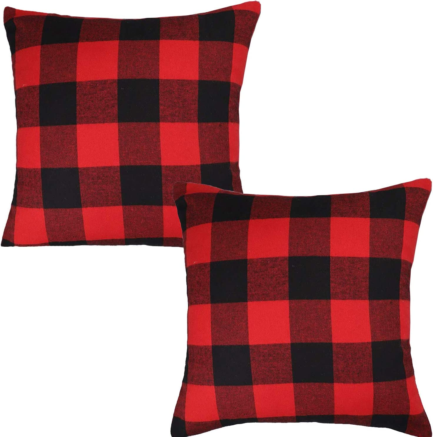 Amazon Com Jashem Plaid Throw Pillow Cover 18x18 Inch Cotton Cushion Black And Red Buffalo Check Case For Modern Home Decor Set Of 2 Big Kitchen