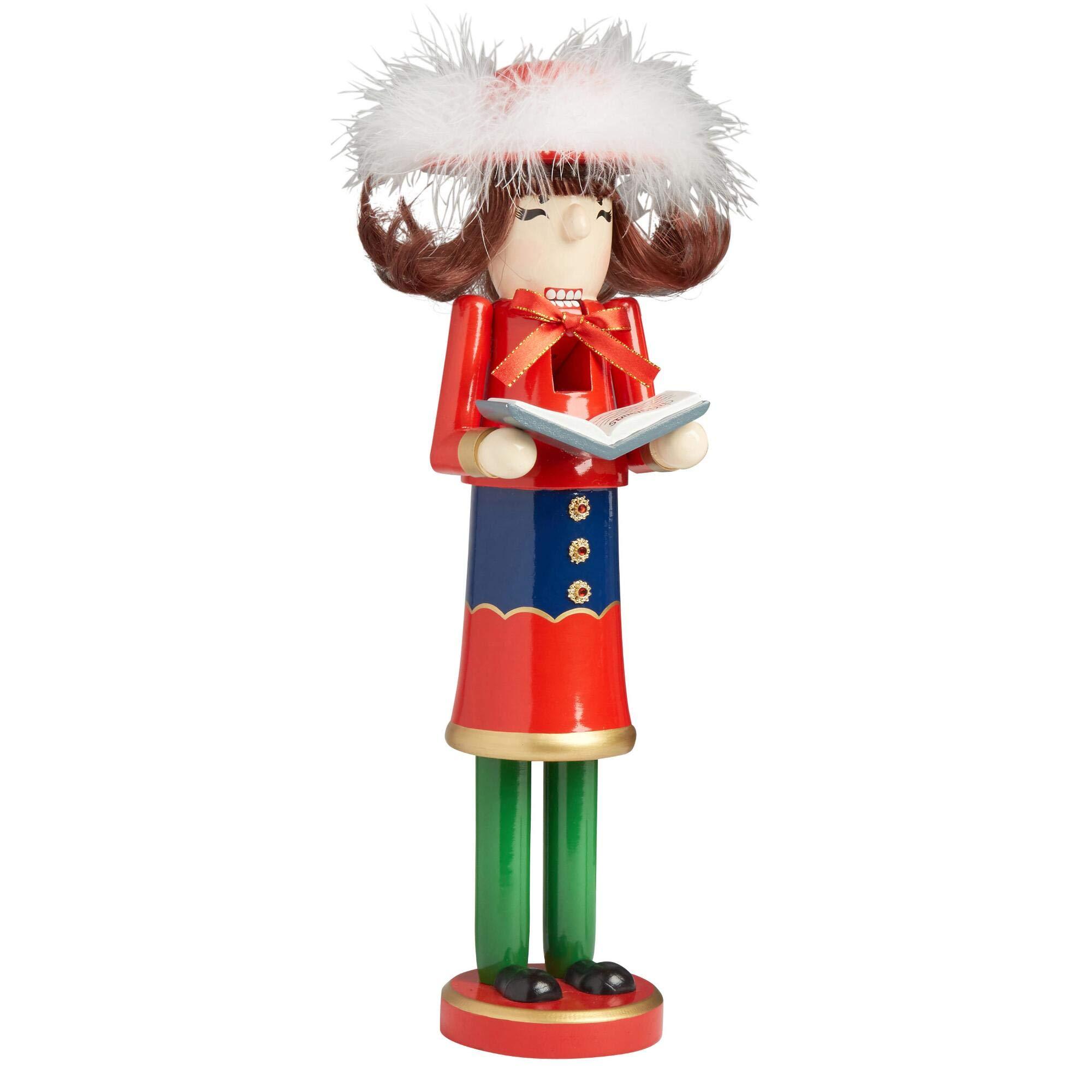 Northeast Home Goods Wooden Christmas Nutcracker Decor, 15-inch Girl Caroler with Book