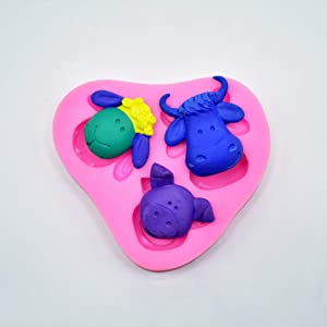 Cute Lovely Farm Animals Head Cow Sheep Pig Present Gift Birthday Party Cake Decor Silicone Mold Tool for Make Chocolate Hard Candy Dessert Ice Cube Candle Soap