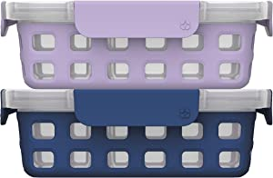 Ello Plastic Divided Container Food Storage Portion Control Set with Locking Leak-Proof Lids, 2 Set 4 Cup, Purple/Blue