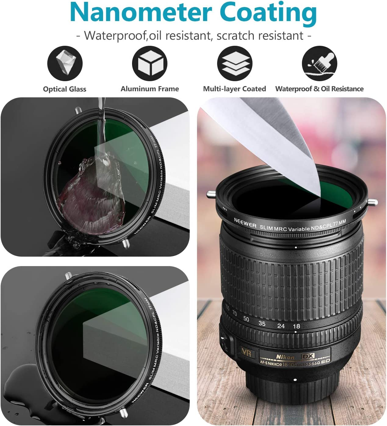 Multilayer Coating Oil Resistance Neewer 72mm Variable Fader ND2-ND32 ND Filter and CPL Circular Polarizing Filter 2 in 1 for 72mm Thread Camera Lens No Black Cross