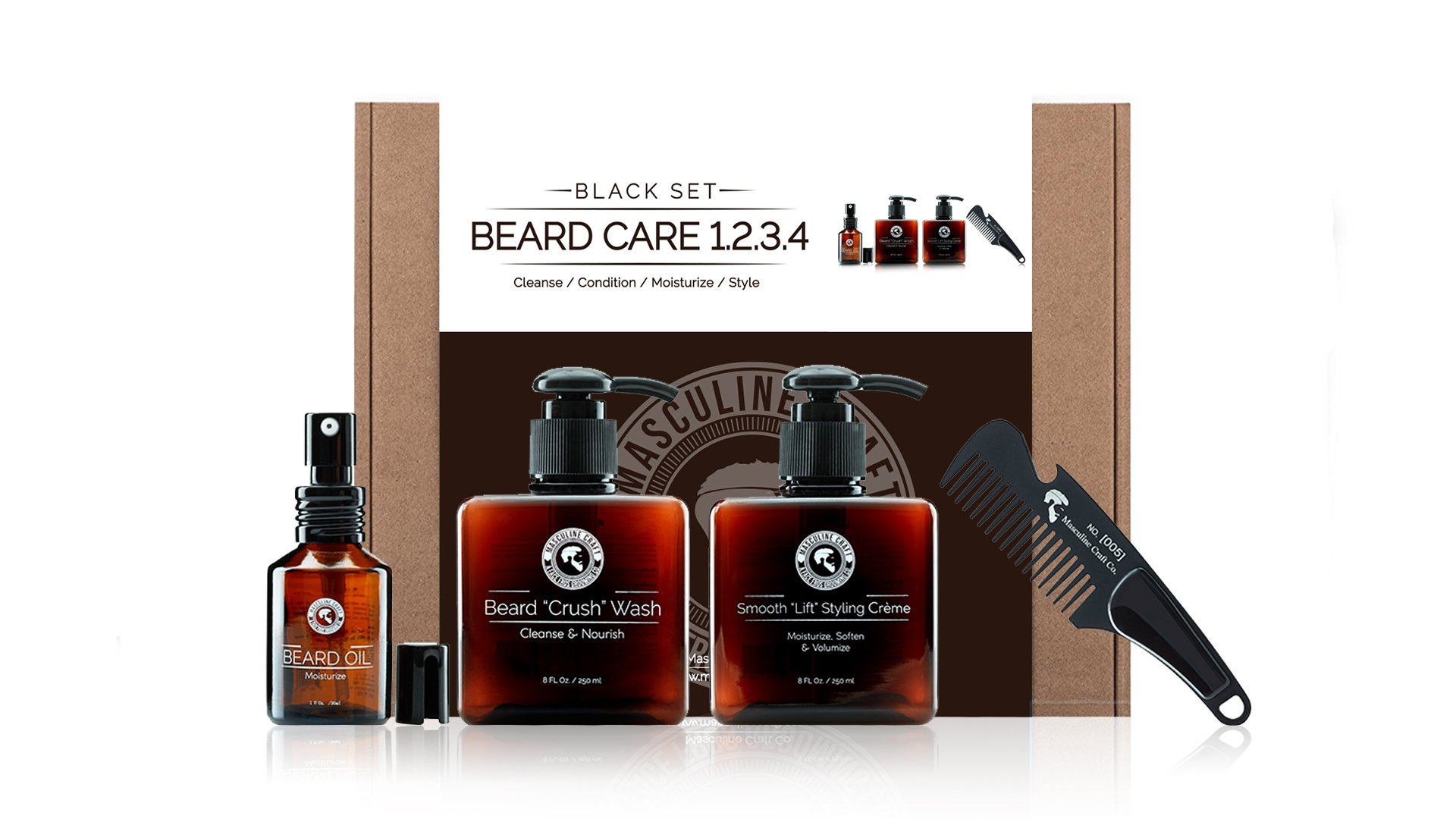 Masculine Craft Men's Beard Grooming Kit | Daily Beard Care Kit | Scented Black Beard Kit Includes Natural Beard Shampoo + Men's Beard Conditioner + Beard Oil Moisturizer + Stainless Steel Beard Comb