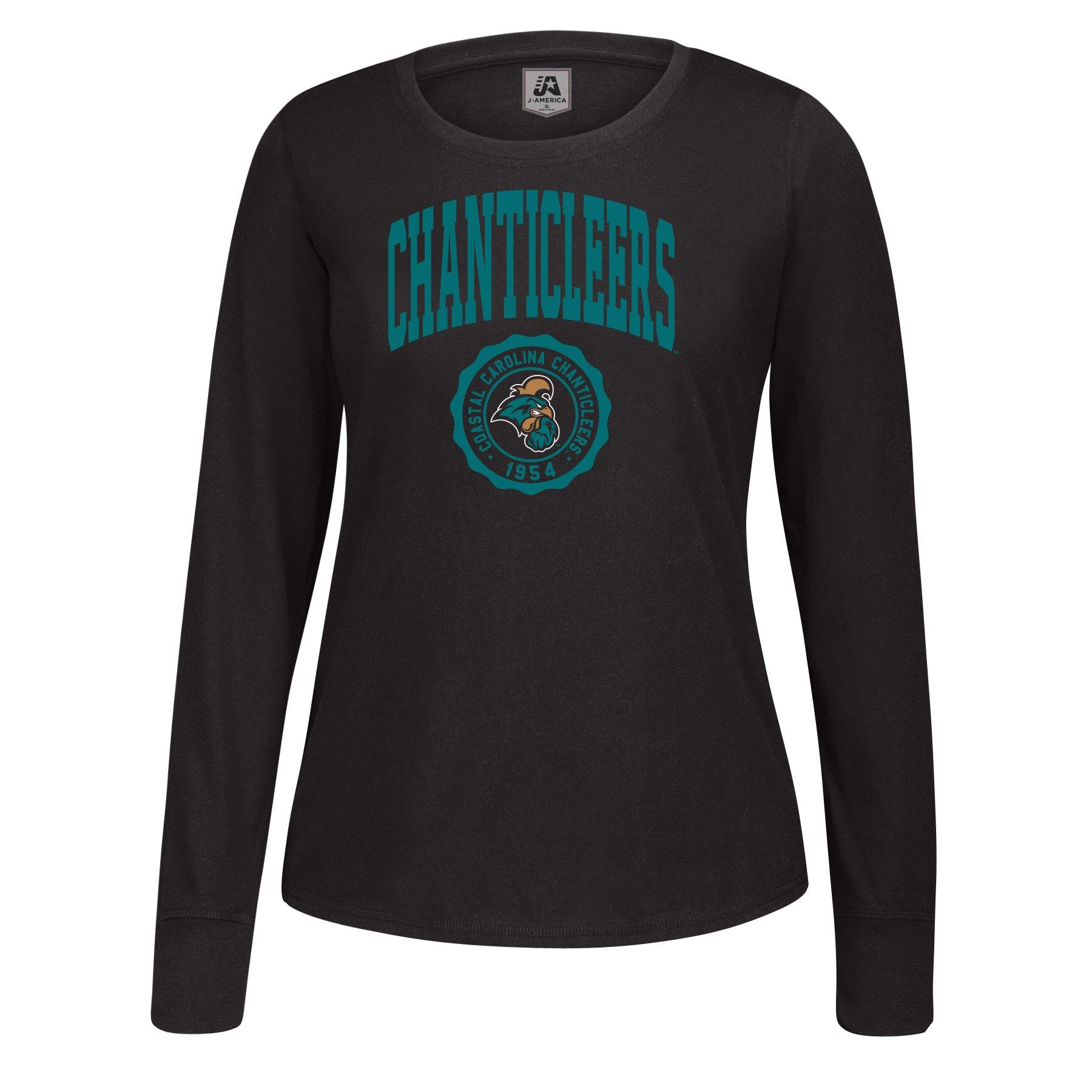 J America NCAA Coastal Carolina Chanticleers Women's Athletic Seal Long Sleeve Essential Tee, Small, Black