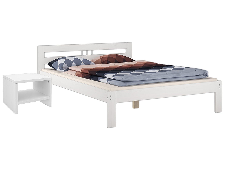 Futonbett Französisches Bett Kiefer Massivholz weiß 140x200 Rollrost 60.64-14 W