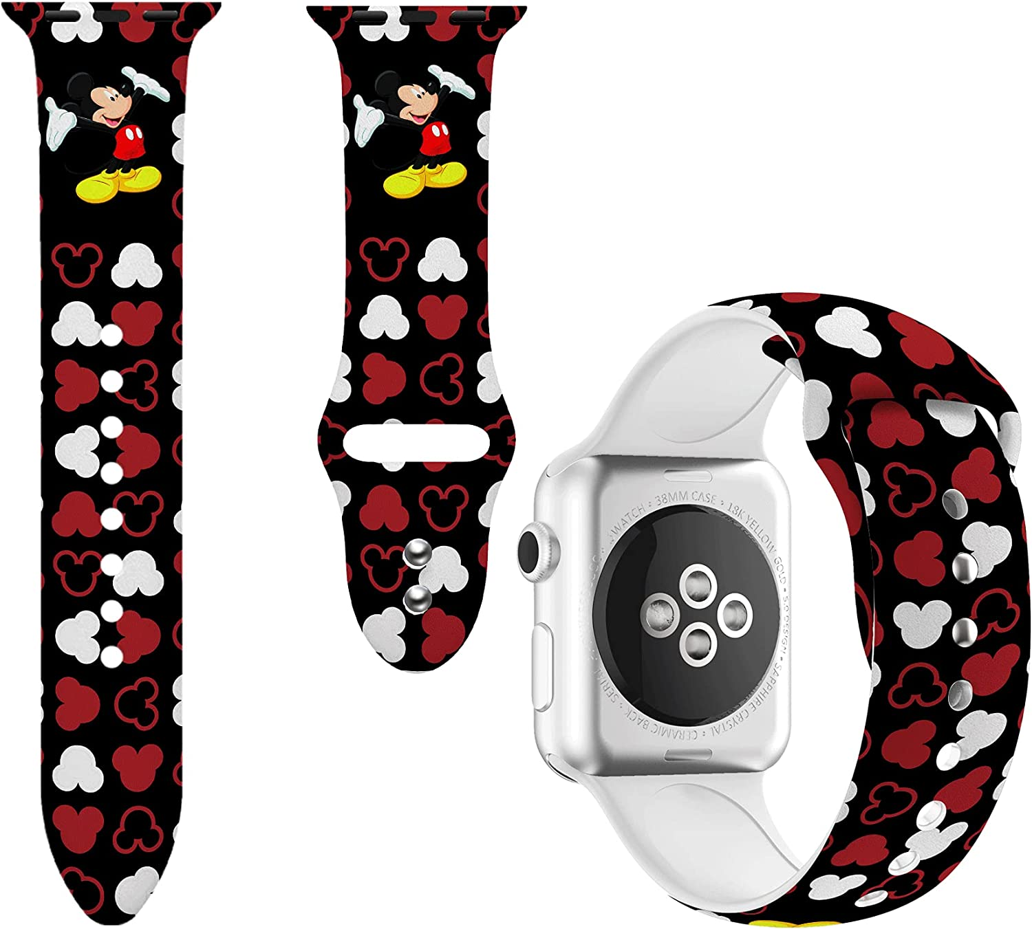 Sport Band Compatible with Apple Watch Bands 38mm 40mm 42mm 44mm for Women Men,Silicone Printed Fadeless Pattern Replacement Strap Band for iWatch Series SE 3 5 6 4 2 1