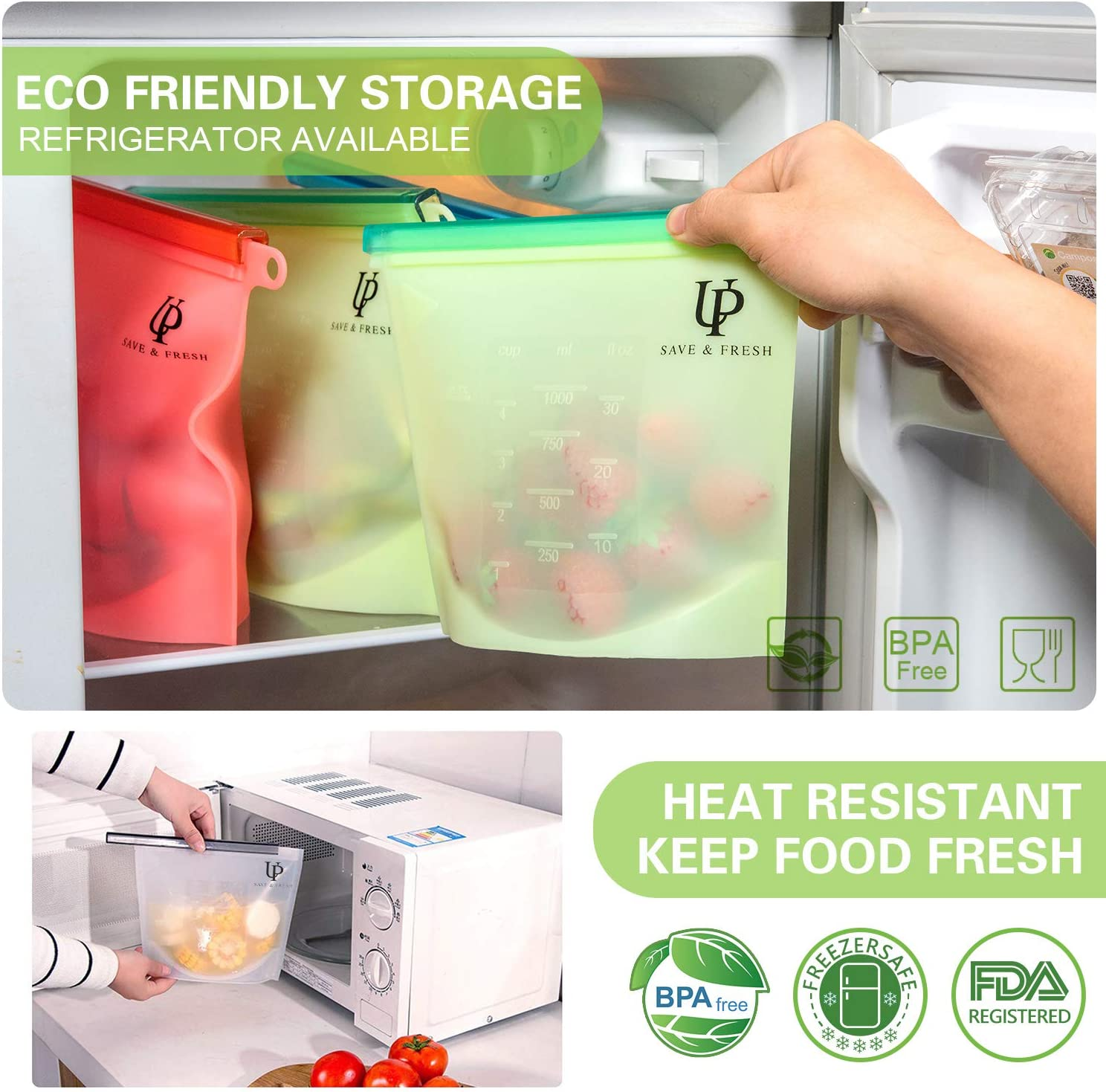 Silicone Food Storage Bags and Reusable Mesh Bags, Set of 6 Food Containers and 12 Produce Bags, Leakproof Food Preservation Bags with Airtight Seal For Meat, Vegetables, Snacks, Left Overs, Lunch