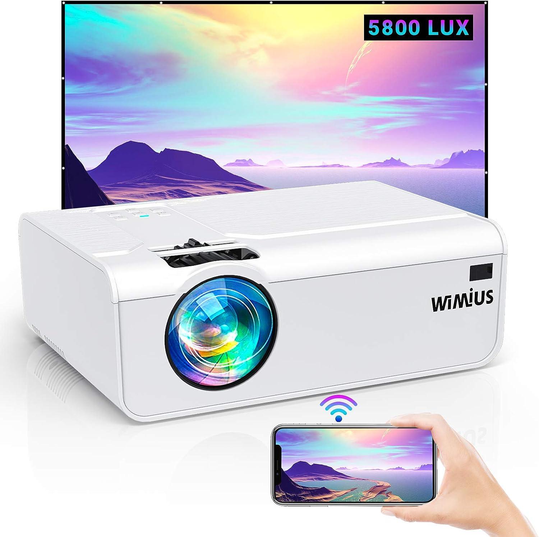 Proyector WiFi, WiMiUS 5800 Lúmenes Proyector WiFi Portátil Soporta Full HD 1080P Audio AC3 Proyector 720P Nativo Proyector Cine En Casa WiFi 80000 Horas Proyector para Smartphone HDMI VGA AV TF USB