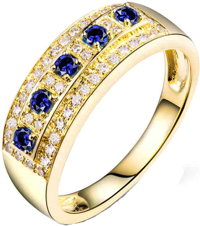 Aartoil Alianzas de boda de oro amarillo de 18 quilates para mujer de zafiro redondo de 0,15 quilates con diamante de 0,21 quilates, anillo de compromiso de Navidad y cumpleaños (tamaño K 1/2)