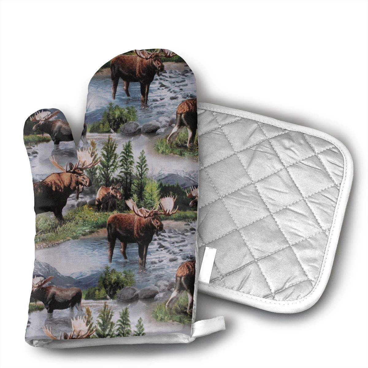 Xayeu Bull Moose Nature Scenic Wildlife Animals Lake Oven Mitt and Pot Holder or Oven Gloves-100% Cotton, High Heat Resistance,