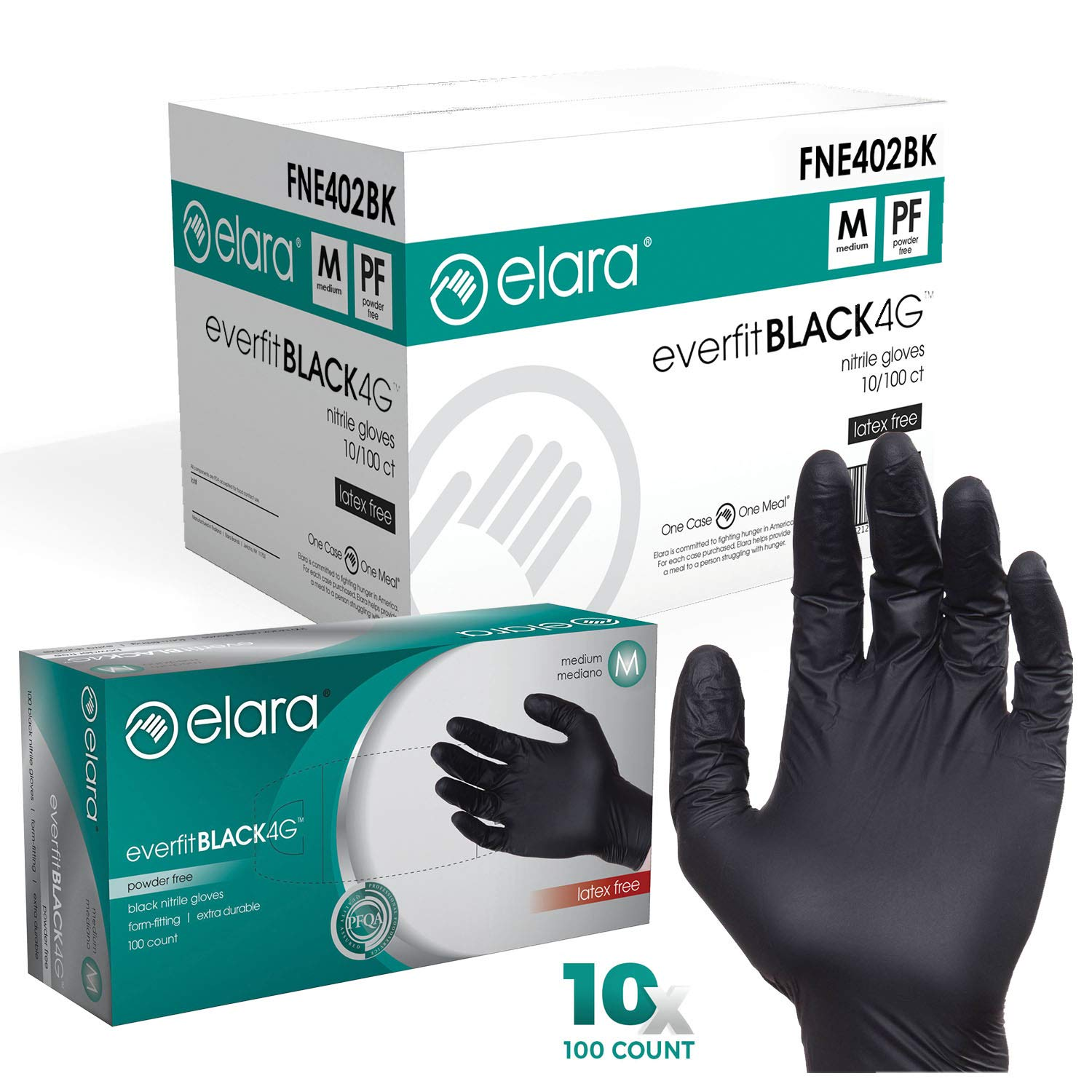 Elara FNE402BK EverfitBLACK4G Nitrile Disposable Gloves, 4 mil, Black, Powder Free, Food Safe, Non-Latex, Size Medium, Case of 1000 by Elara