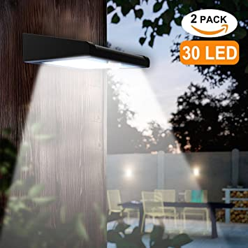 2 Pack 30 LED Solar Lights Outdoor, Avaspot【Upgraded Version】Solar Powered  Security