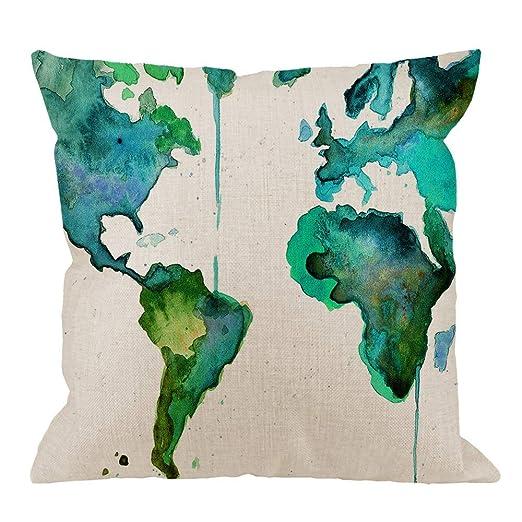 Mapamundi Funda de Almohada, Verde Acuarela Mapa del Mundo ...