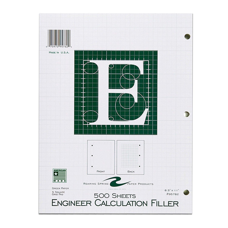 Roaring Spring Engineering Filler, 8.5'' x 11'', Green, 500 sheets