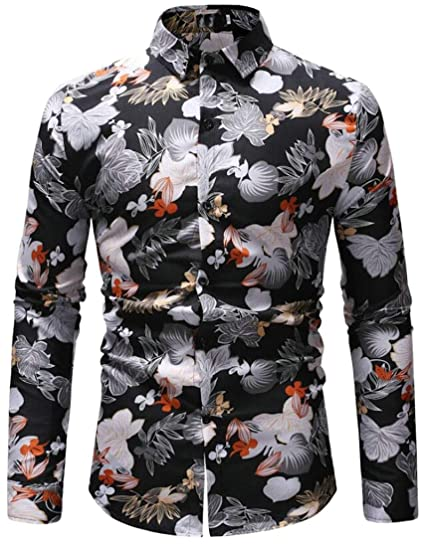 3f923151740 ARTFFEL Men Slim Fit Flowers Trendy Long Sleeve Floral Print Turn Down  Collar Button Down Blouse Shirts Tops at Amazon Men s Clothing store