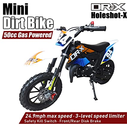 DR-X Kids Dirt Bike Holeshot-X 50cc Gas Power Mini Dirt Bike 20inches Seat  Height Dirt Off Road Motorcycle, Pit Bike Fully Automatic Transmission,