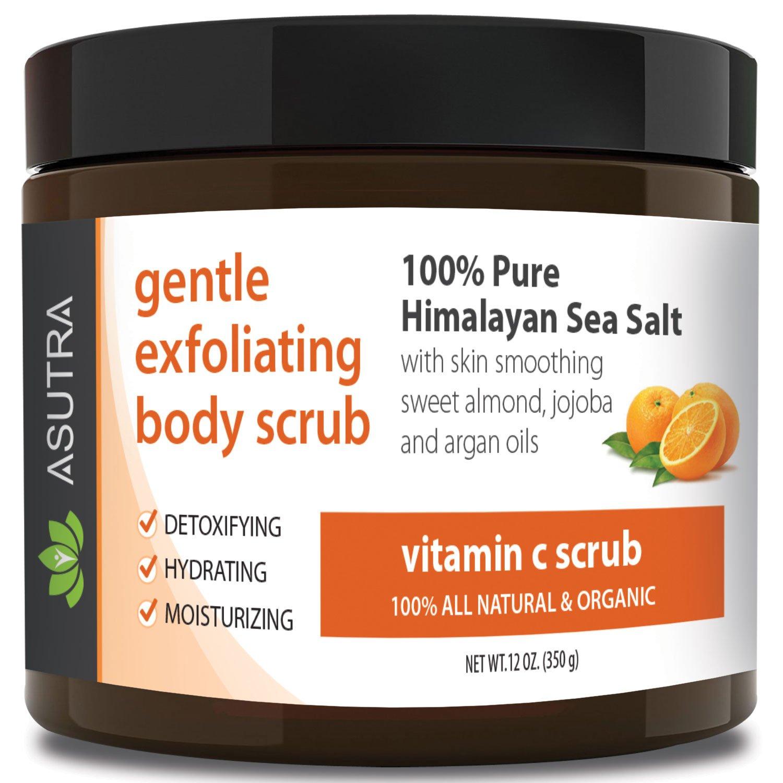 "Best ORGANIC Exfoliating Body Scrub - ""VITAMIN C SCRUB"" - 100% Pure Himalayan Sea Salt Scrub / Ultra Hydrating & Moisturizing with SKIN SMOOTHING Jojoba, Sweet Almond & Argan Oils - 12oz"