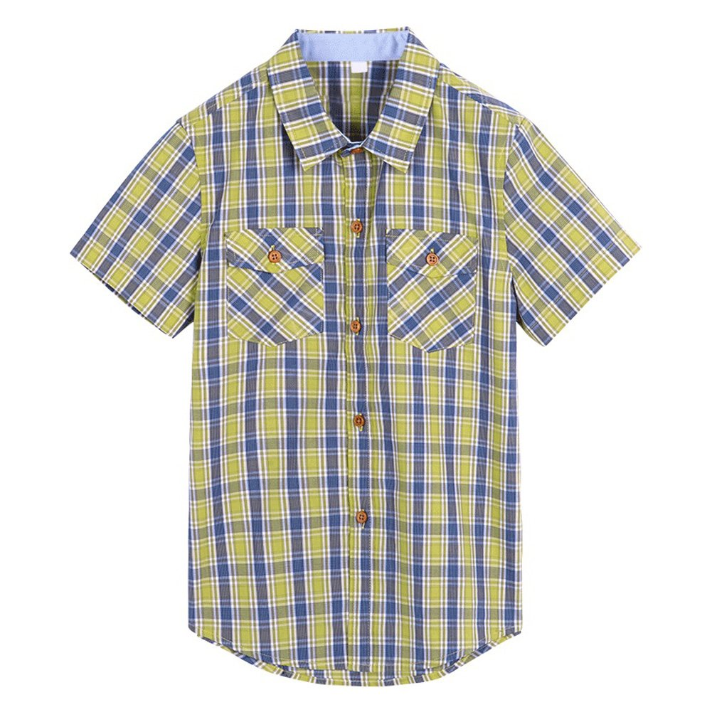 wisefin Boy's Fashion Short Sleeve Shirt Summer Casual Shirt for Kids 5-17years (Yellow Plaid, 7-9)
