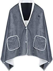 SmartDevil USB Heated Shawl, 3-Heat Setting Heating Blanket, Quick Heat up, Multi-Purpose Heating Pad, Portable Heated Blanket with Pocket for Car, Office, Home (Grey)
