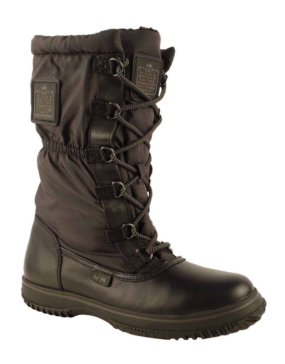 Coach Women¡¯s Sage Black/Black Lace-Up Cold Weather Boots 7 (B) M, Style A9177