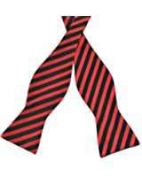PenSee Mens Self Bow Tie Classic Stripe Woven Silk Bow Ties-Various Colors
