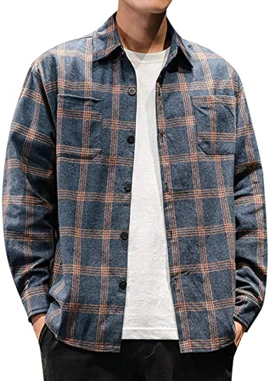 SoonerQuicker Camisas de Hombre T Shirt tee Moda Masculina Camisa Vintage a Cuadros Camisa de Manga Larga Camisa cómoda: Amazon.es: Ropa y accesorios