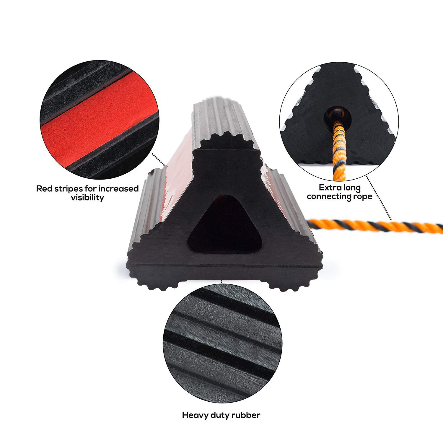 Valup Wheel Chocks - Car and RV Rubber Block - Long Connecting Rope - Heavy Duty Car Wheel Stoppers Chock - Extremely Durable - for Cars, Boats, Trucks, Aircraft, RVs (1 Pair) by Valup (Image #3)
