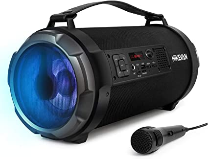 Altavoz Bocinas Portátil LED Inalámbrico Bluetooth USB//AUX//FM Radio Outdoor Negr