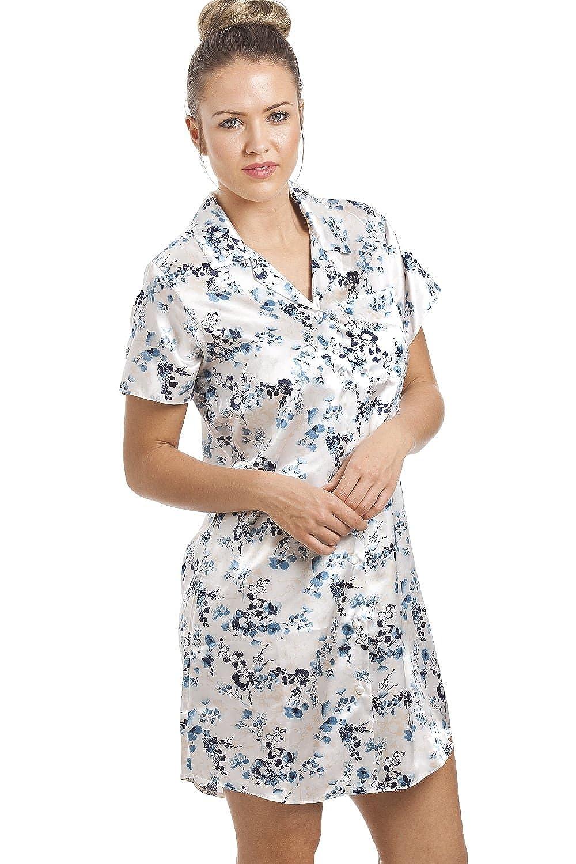 d3059e9272c1f1 Camille - Damen Luxus-Nachthemd aus Satin mit blauem Blumenmuster - knielang  - cremefarben: Amazon.de: Bekleidung