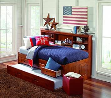 discovery world furniture merlot bookcase day bed twin with 3 drawer storage and bottom trundle