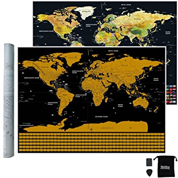 Scratch map black with golden coating scratch off world map bright scratch map black with golden coating scratch off world map bright colors deluxe edition gumiabroncs Image collections