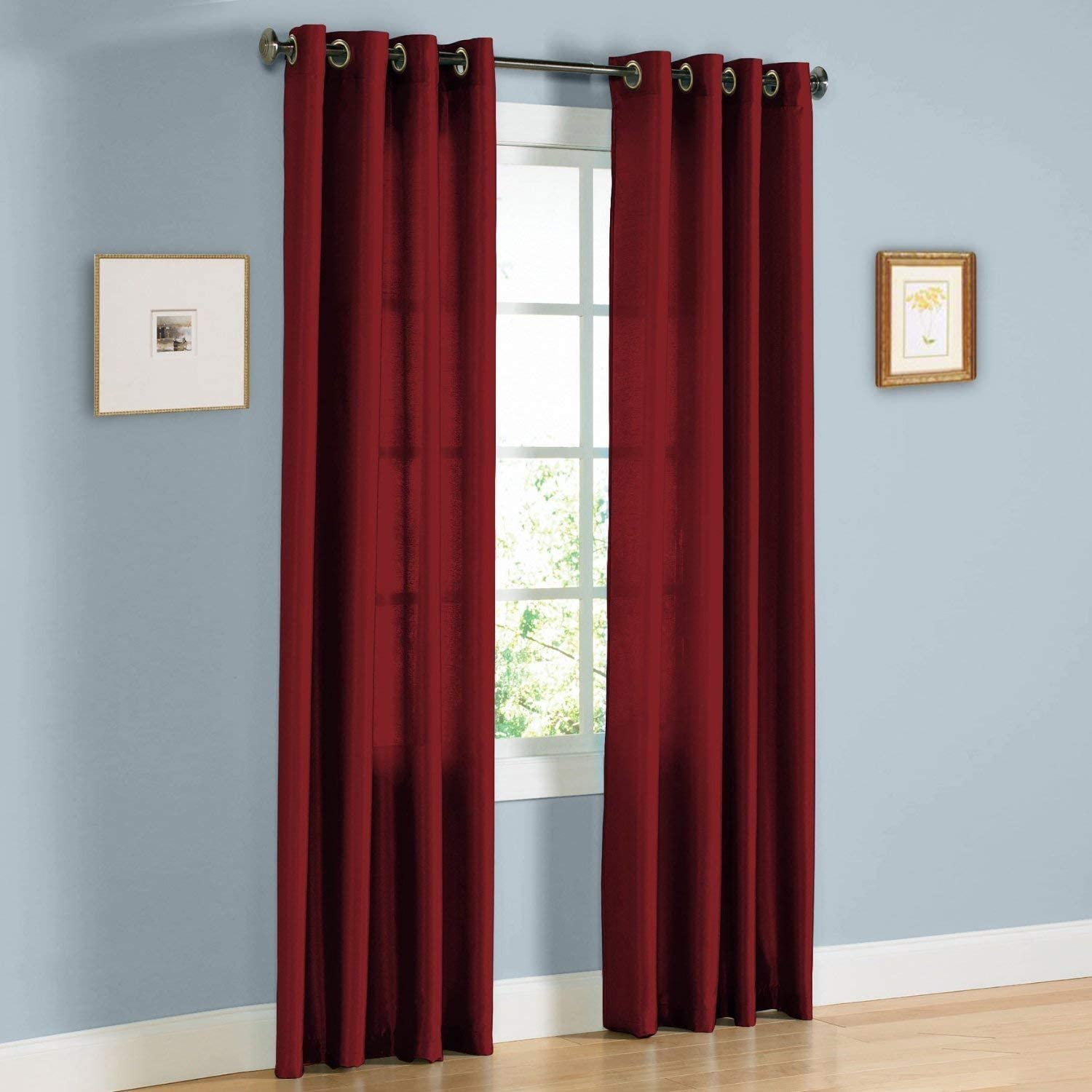 """2 Panel Faux Silk Solid Curtain Drapes with Bronze Grommet (108"""" Total Width by 84"""" L), Solid Color Curtain Panels for Any Bedroom or Patio Door - Non-blackouts/Semi Sheer Panels - Burgundy"""