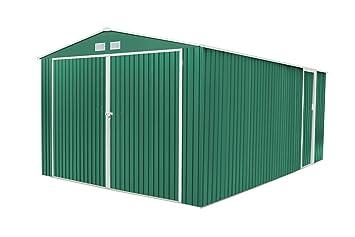 Generico - Garaje exterior para coches metalico con doble puerta y dos aguas 540 largo x 380 ancho x 232 alto cm: Amazon.es: Jardín