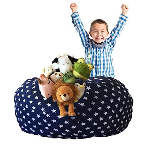 Admirable Sosibon Stuffed Animal Storage Bean Bag Chair Cover Extra Large Toy Organizers For Kids Bedroom 38 Navy Stars Evergreenethics Interior Chair Design Evergreenethicsorg