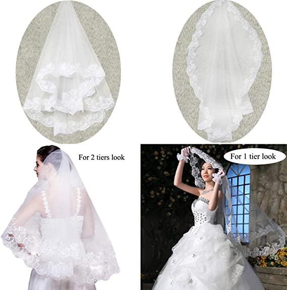 Brishow Wedding Bridal Veil With Crystal Flower Headband 2 Tier Soft Tulle for Brides Champagne