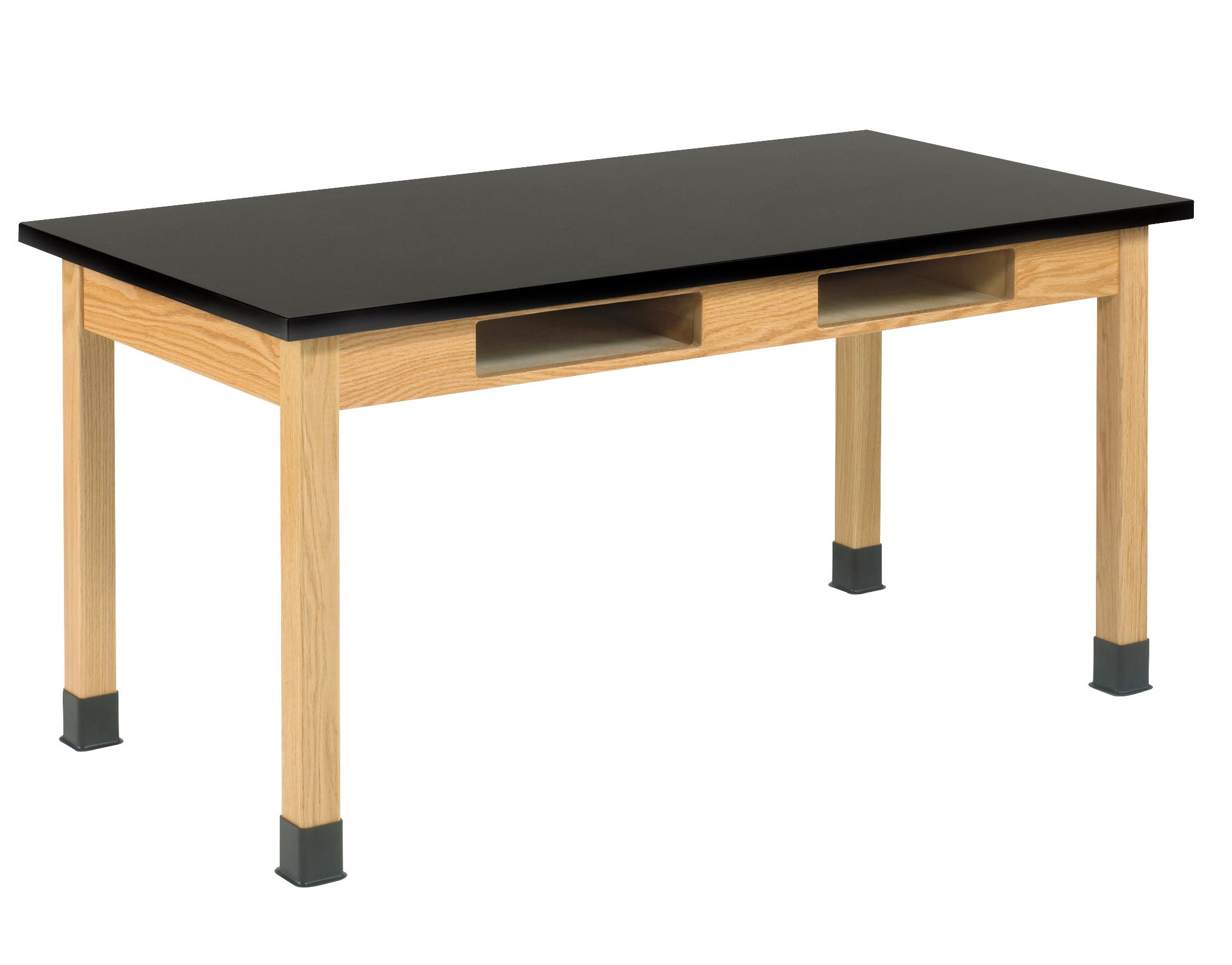 DIVERSIFIED WOODCRAFTS C7146K30N Oak Table with Book Compartments, 1'' Epoxy Resin Top, 60'' W x 30'' D x 30'' H
