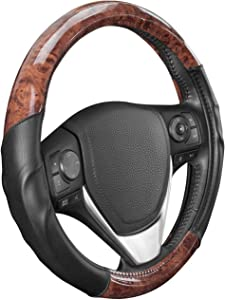BDK ACDelco Steering Wheel Cover 2 Tone - Black/Dark Wood Grain Microfiber Leather for Standard Sizes (14.5 15 15.5 Inch)