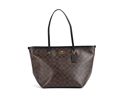 Amazon.com  Coach Signature Street Zip Top Tote - Brown Black  Shoes cd413654d9aec