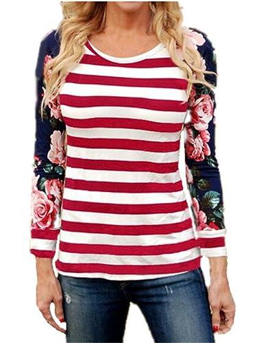 Tayaho Mujeres Hipster Round Neck Manga Larga Moda T-Shirt A Rayas Impreso Clasicos Camisetas Top