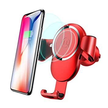 Cargador Inalámbrico Coche,USAMS 10W Adaptador Cargadores Inalambricos Teléfono Soporte Móvil para Samsung Galaxy Note 8 / S9 / S8 / S8 + / S7 / S6 ...