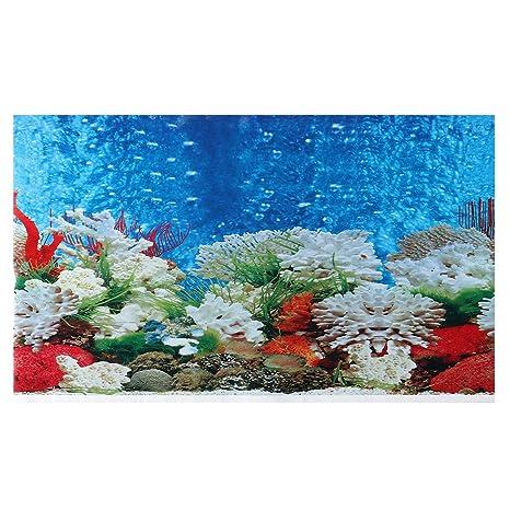 POPETPOP Fondo de Acuario Fish Tank Paisaje Papel Tapiz de Pared Papel de Arte para la