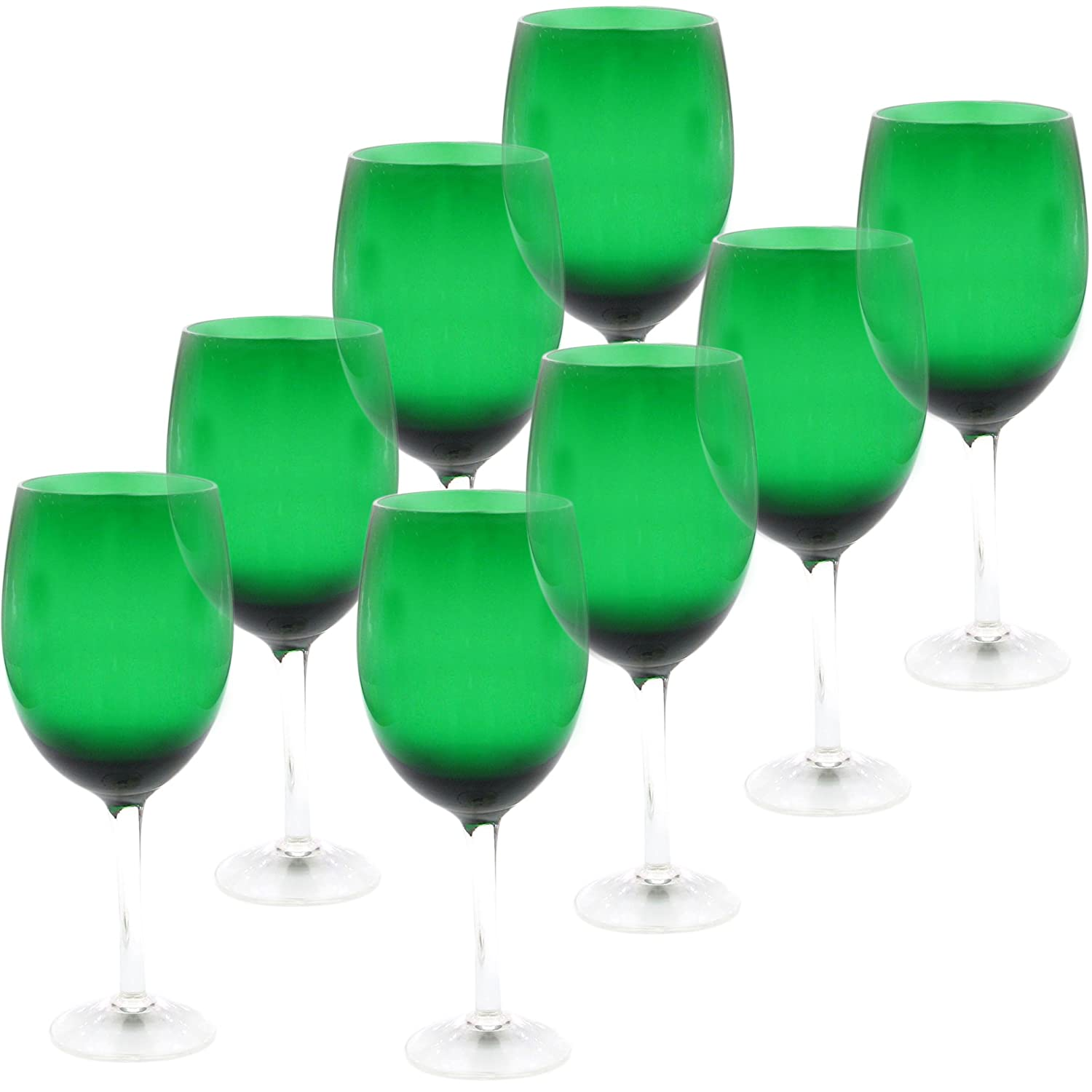 Green Color White Wine Stemware Set of 8
