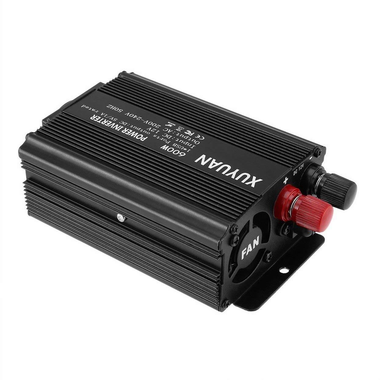 Inversor de Corriente USB Profesional 600W DC 12V a CA 220V con indicador LED Convertidor de autom/óvil para electrodom/ésticos