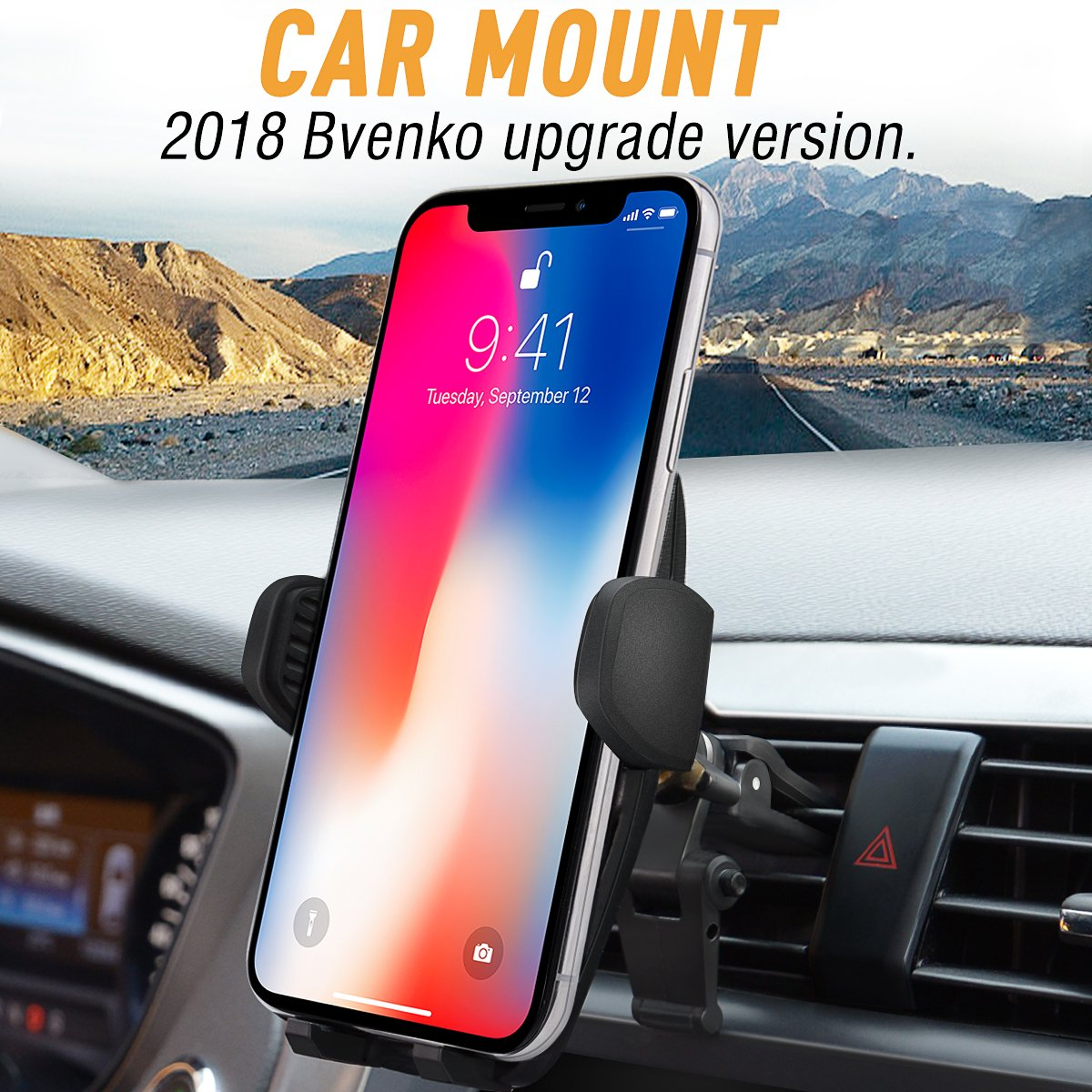 Bvenko Car Mount/Car Holder, Phone Mount/Car Phone Holder Universal Cell Phone Cradle Gravity Self-Locking Design Anti-Skid Base iPhone X/8/7Plus/6,Galaxy S8,Google,LG,Huawei etc