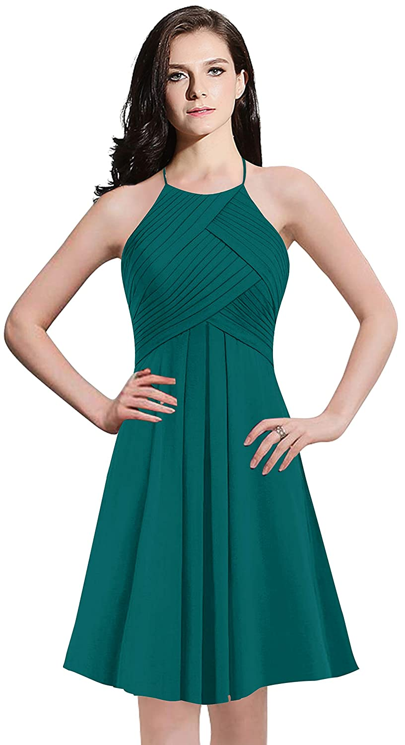 ThaliaDress Womens Chiffon Short Halter Bridesmaid Dress Cocktail Party Evening Gown T073LF