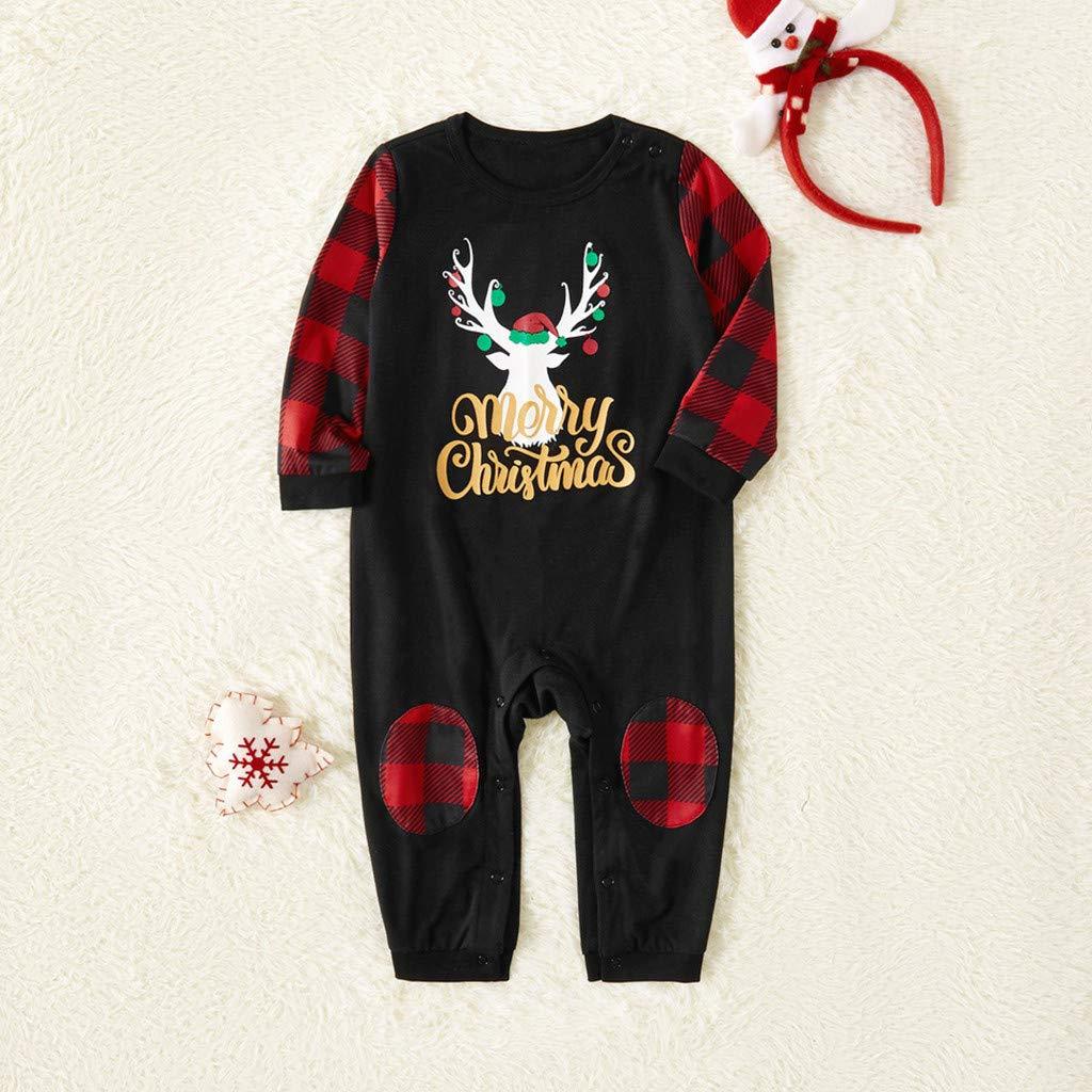 Family Pajamas Sleepwear Deer Tops Pants Set Christmas Baby Boys Girls Romper Jumpsuit for 6Months to 6Years Christmas Pajamas for Family Mom, S XGao Family Christmas Pajamas Set